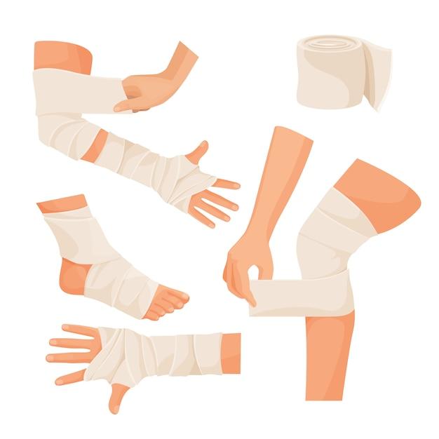 Elastic bandage on injured human body parts set. Premium Vector