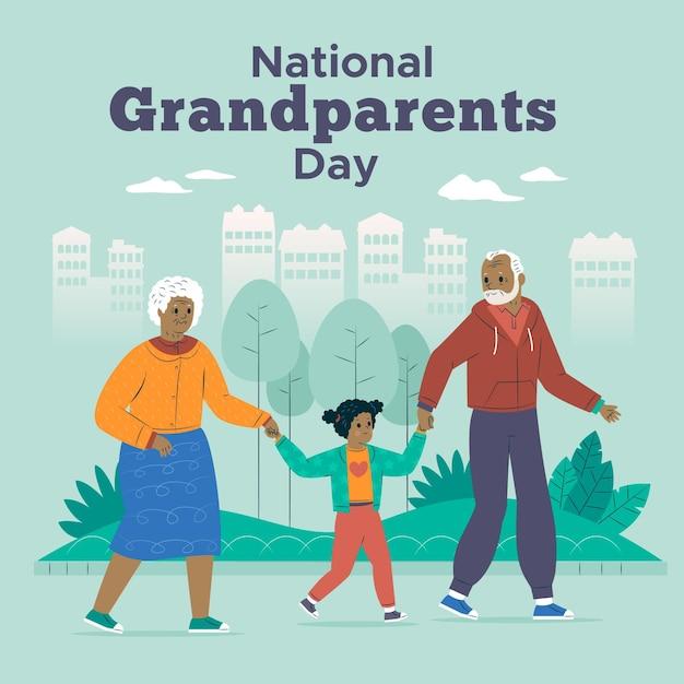 Пожилая пара и ребенок национальный день бабушек и дедушек Бесплатные векторы