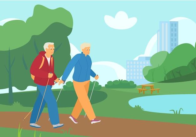 サマーパークを歩く老夫婦のノルディックウォーキング。アクティブリタイアメント。健康的な生活様式。 Premiumベクター