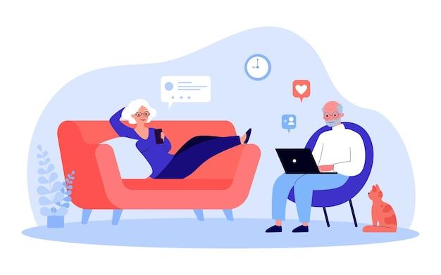 Elderly couple resting in living room using gadgets. flat vector illustration. modern retirees using