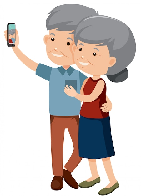 Elderly couple taking a photo together Premium Vector