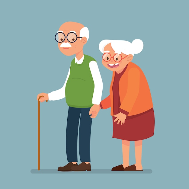 Elderly couple together, old man and old woman walk together Premium Vector