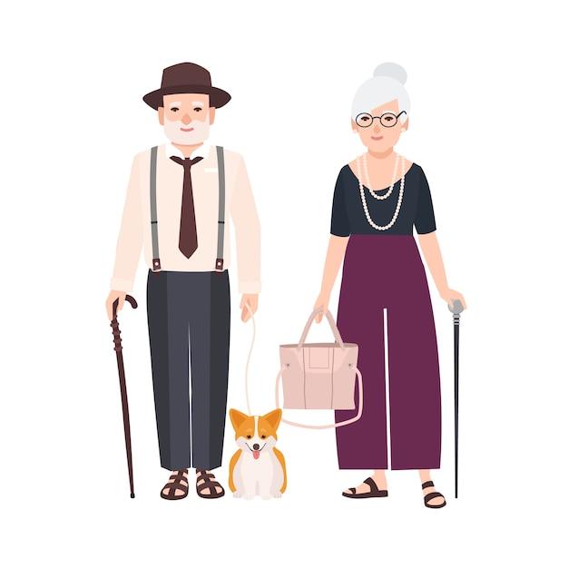 Пожилая пара с тростью и собакой на поводке. пара старика и женщины, одетые в элегантную одежду, гулять вместе. дедушка и бабушка. плоские герои мультфильмов Premium векторы