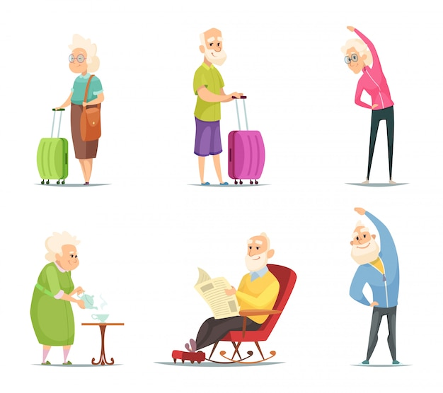 Elderly couples in various action poses Premium Vector