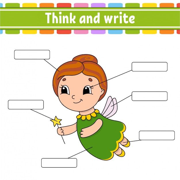 Elderly fairy. think and write. body part. learning words. Premium Vector
