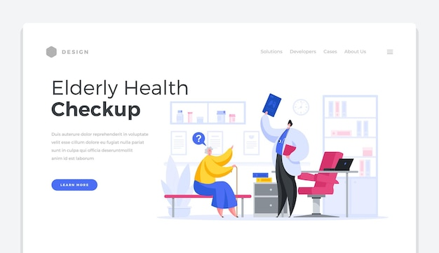 Elderly health checkup home page banner. male character doctor reports results of medical diagnostics to aged woman. examination and testing body for disease prevention vector template. Premium Vector