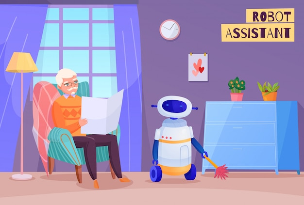 Elderly man in chair during reading and robot helper in home interior  illustration Free Vector
