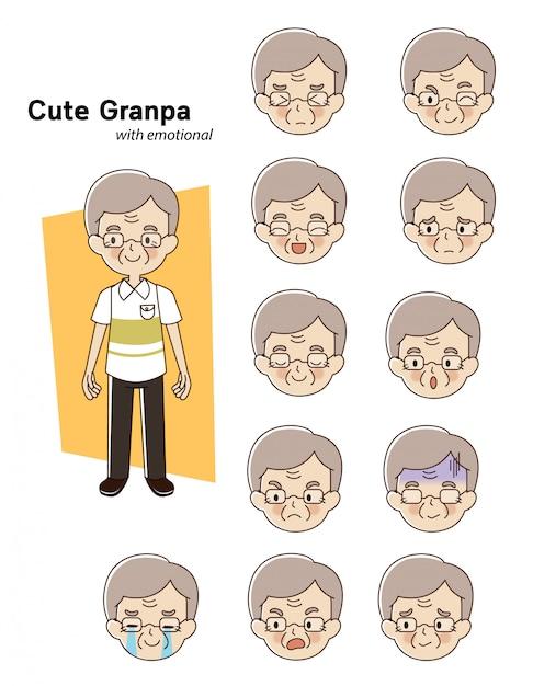 Elderly man character Premium Vector