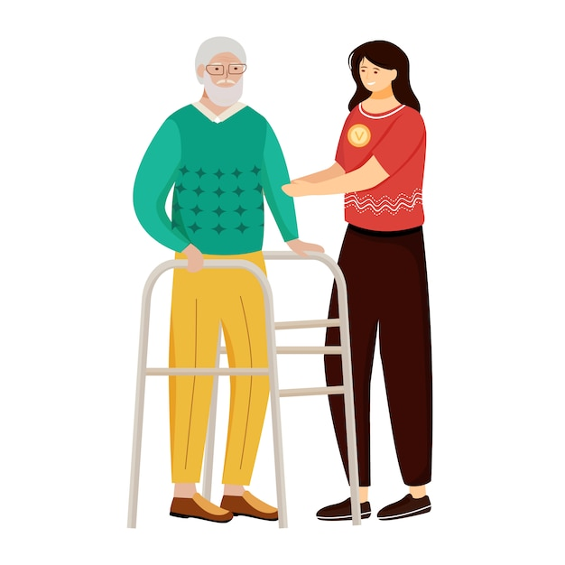 Пожилая медсестер плоский векторные иллюстрации. Premium векторы