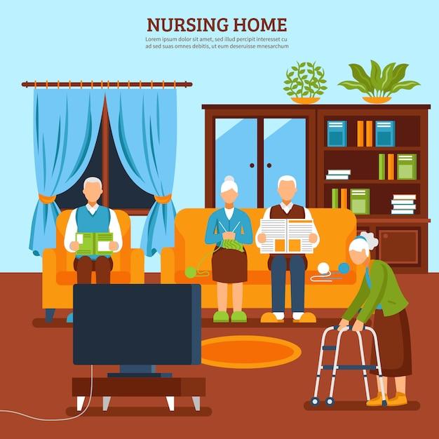 Elderly nursing indoor composition Free Vector