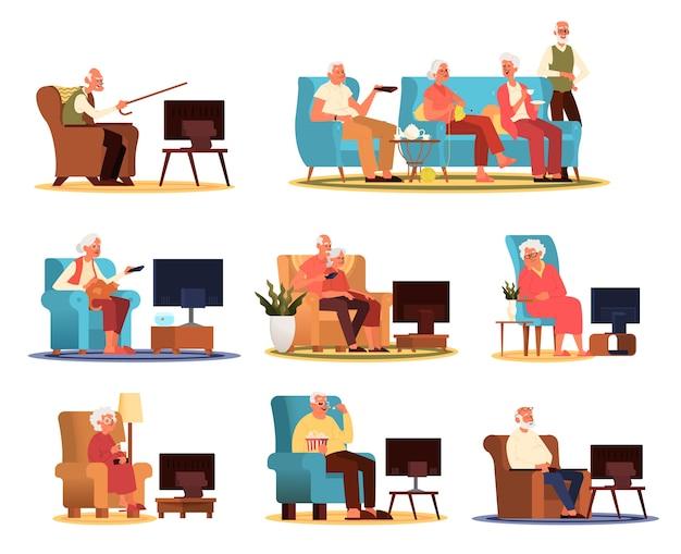 Пожилые люди и пара сидят на диване или кресле и смотрят телевизор. жизнь стариков. старший мужчина и женщина дома отдыха. Premium векторы