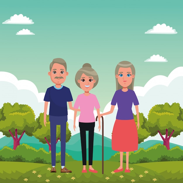 Elderly people avatar cartoon character Free Vector