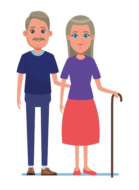Elderly people avatar cartoon character Premium Vector