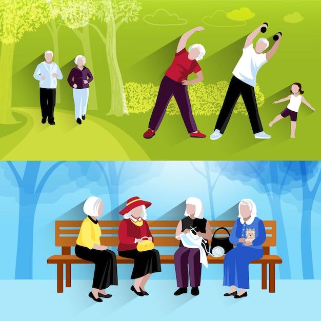 Elderly people banners set Free Vector