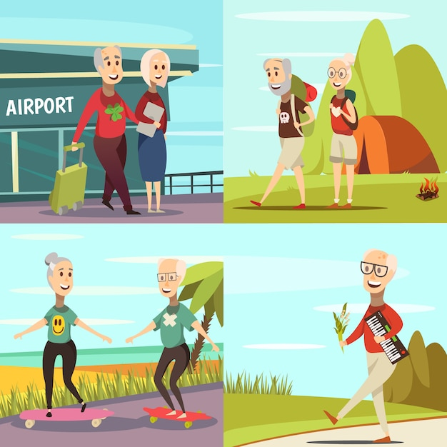 Elderly people concept icons set Free Vector