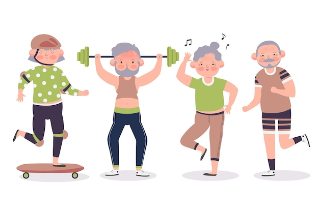 Elderly people doing sport Free Vector
