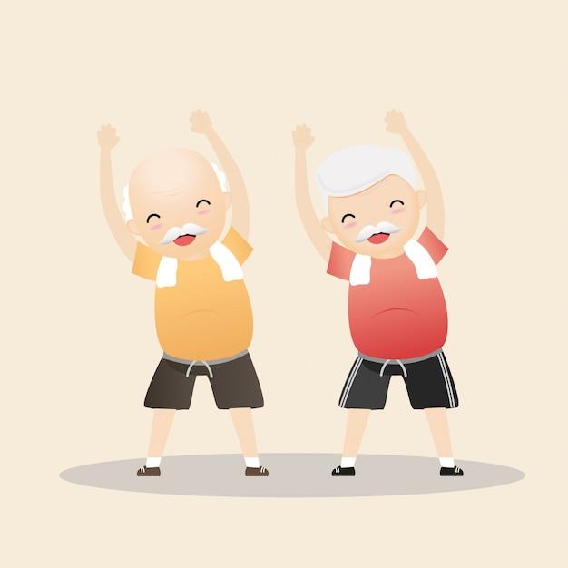 Elderly people exercising concept. Premium Vector