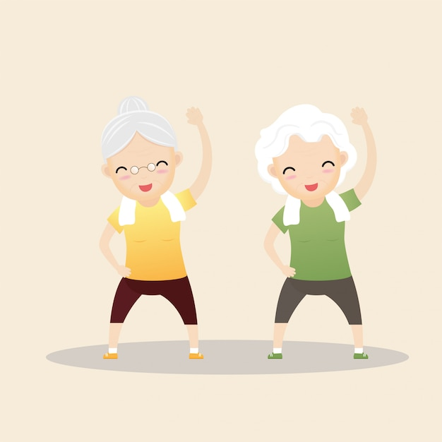 Elderly people exercising. Premium Vector