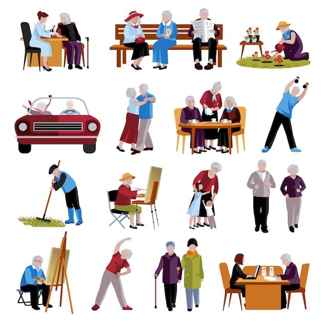 Elderly people icons set Free Vector
