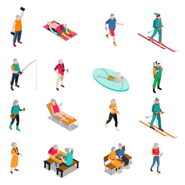 Elderly people isometric icons set Free Vector