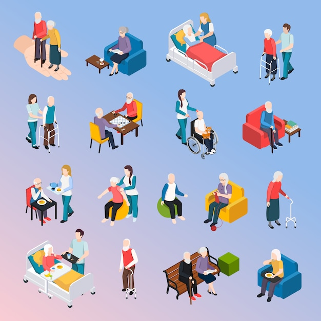 Elderly people nursing home residents isometric elements set Free Vector