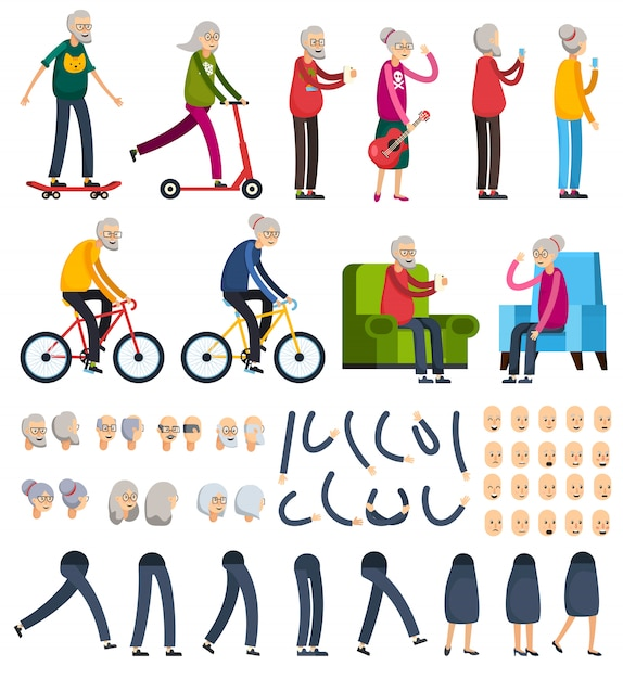 Elderly people orthogonal constructor icons Free Vector