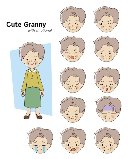 Elderly woman character Premium Vector