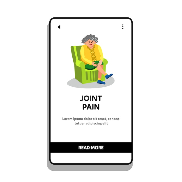 Elderly woman with joint pain sit in chair Premium Vector