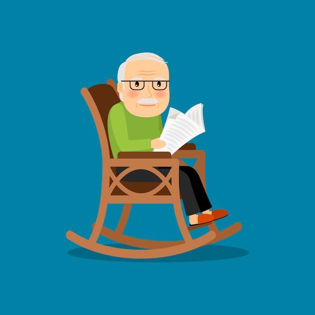 Eldery man on wheelchair Premium Vector