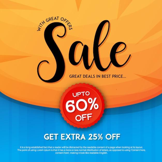 Eleagnt sale with discount marketing banner Premium Vector