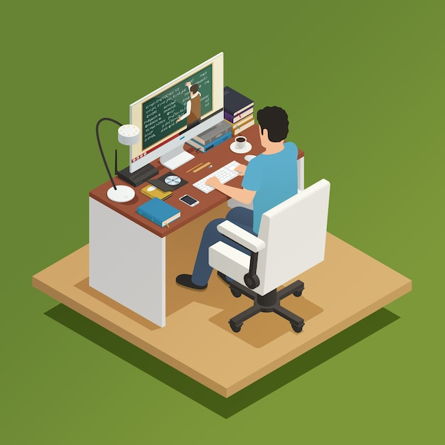Elearning isometric composition Free Vector