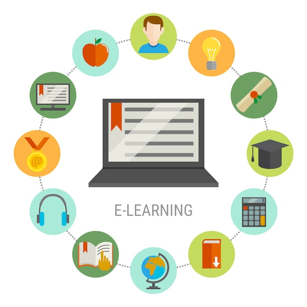 Elearning round composition Free Vector