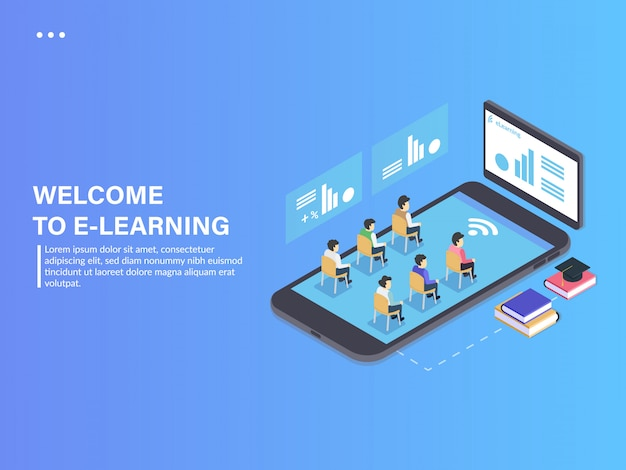 Elearning study mobile app isometric phone Premium Vector