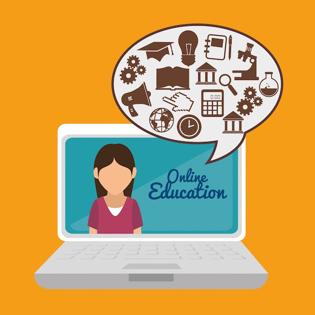 Elearning and technology education Premium Vector