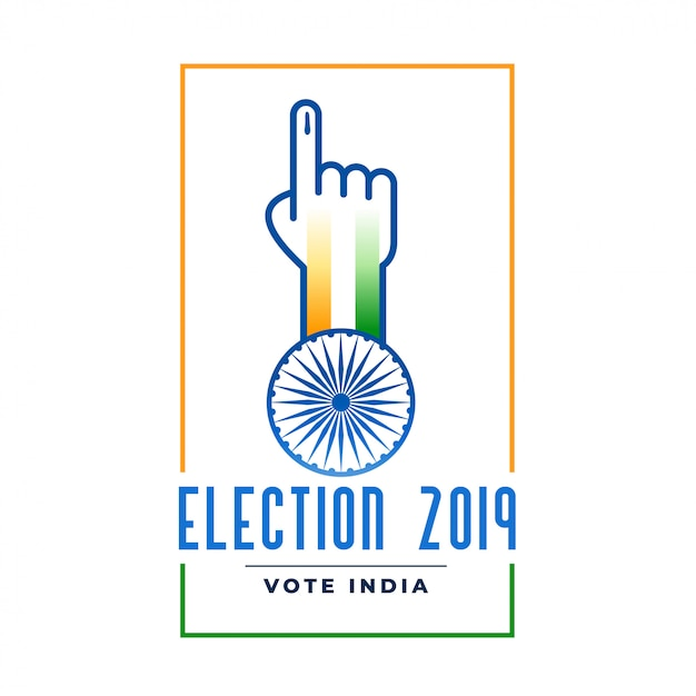 Election 2019 label with voting hand Free Vector