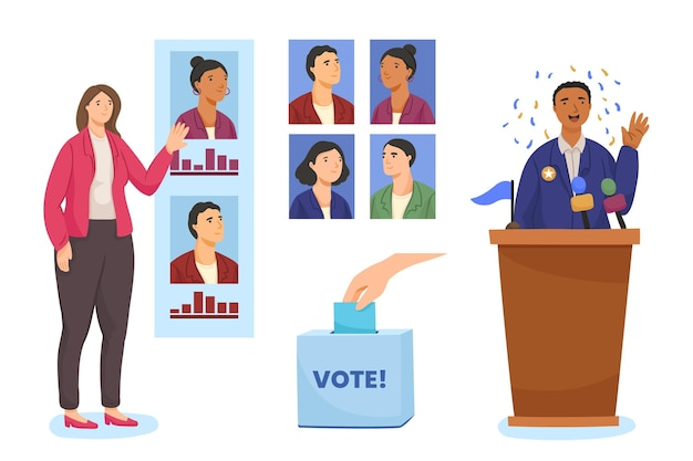 Сцены избирательной кампании Premium векторы
