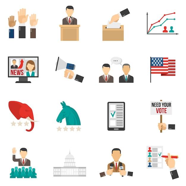 Цветные иконки выборов Бесплатные векторы