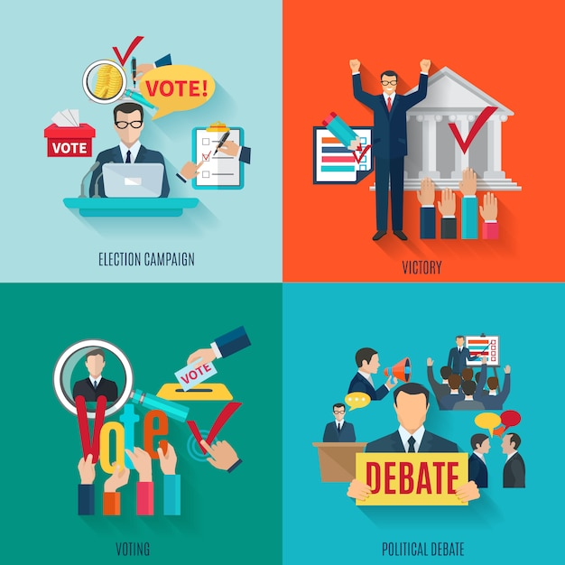 Election concept set with voting and political debate flat icons Free Vector