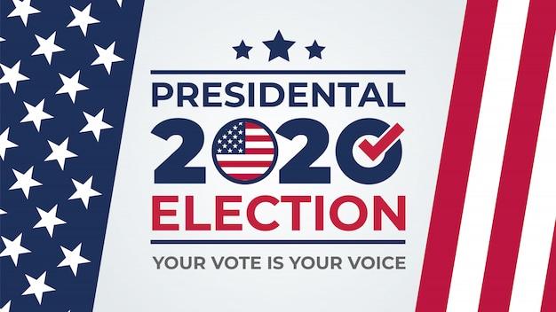 День выборов. голосование 2020 в сша, дизайн баннера. сша, дебаты о президентском голосовании 2020 года. предвыборный бюллетень для голосования. политическая избирательная кампания Premium векторы
