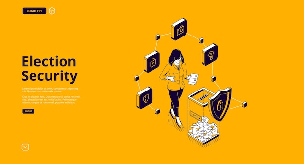 選挙セキュリティバナー。安全民主主義投票のための投票所の保護システム 無料ベクター