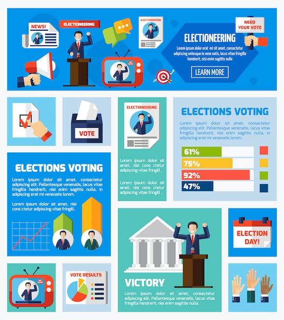 選挙と投票フラットコレクション 無料ベクター