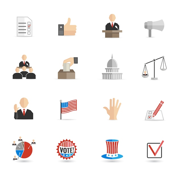 Elections icons flat set Free Vector