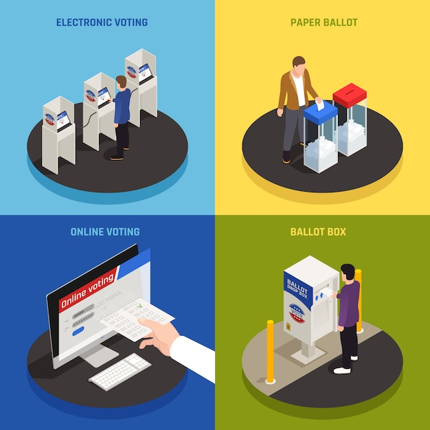 Elections and voting concept icons set with online voting symbols isometric isolated Free Vector