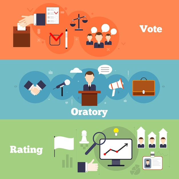 Elections and voting flat banner set with oratory rating isolate vector illustration Free Vector