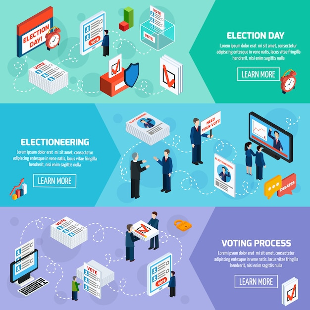 Elections and voting isometric banners Free Vector