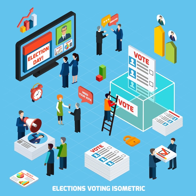 Elections and voting isometric composition Free Vector