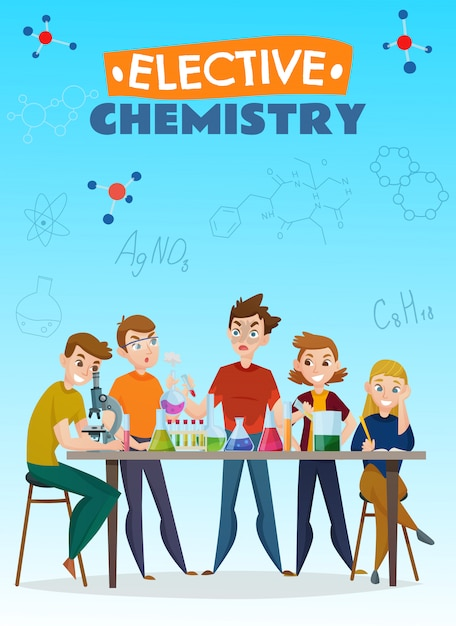 Elective chemistry cartoon poster Free Vector