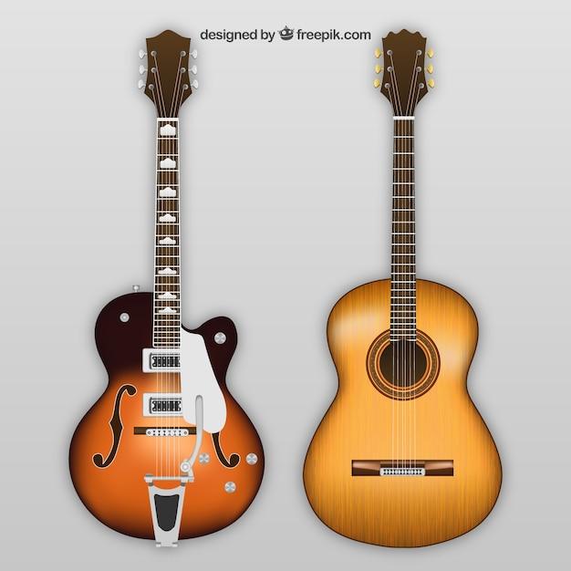 Электрические и акустические гитары Бесплатные векторы