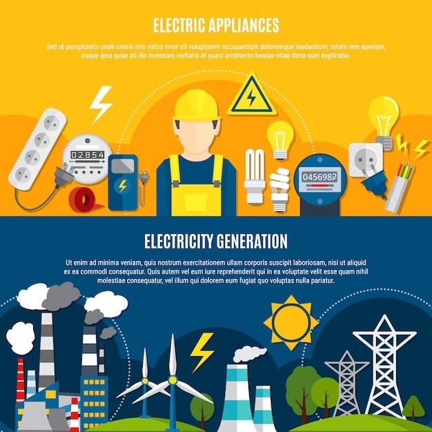 Электрические приборы и баннеры производства электроэнергии Бесплатные векторы