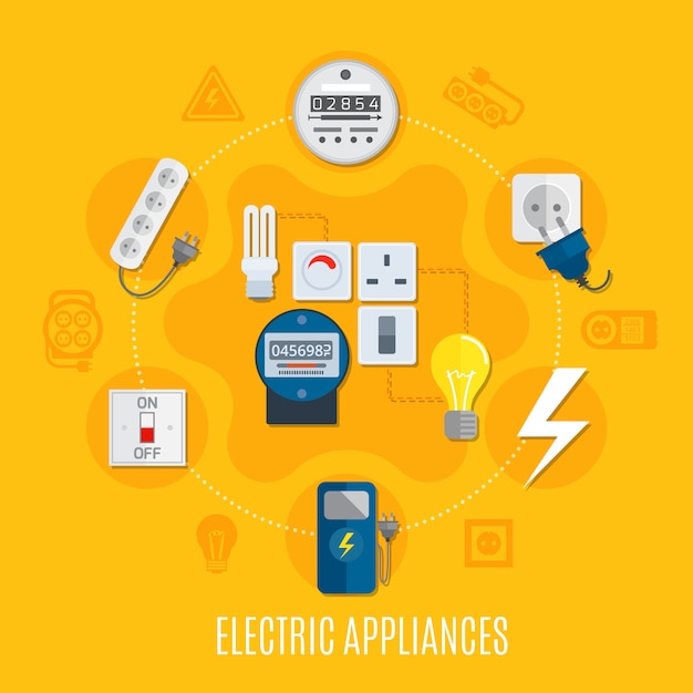 Electric appliances round Free Vector
